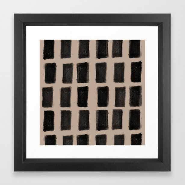 Brush Strokes Vertical Lines Black on Nude Framed Art Print - Society6