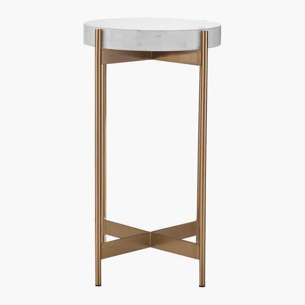 Block White Marble Pedestal Table RESTOCK Late September 2021 - CB2