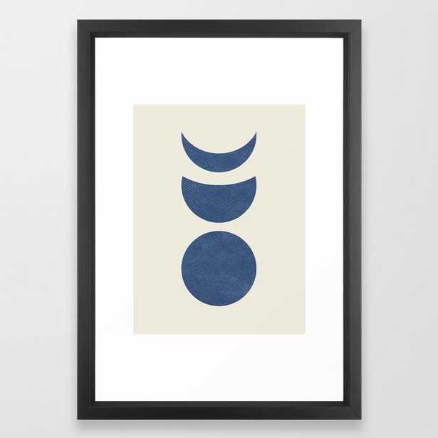 Lunar Phase - Blue Framed Art Print - Society6