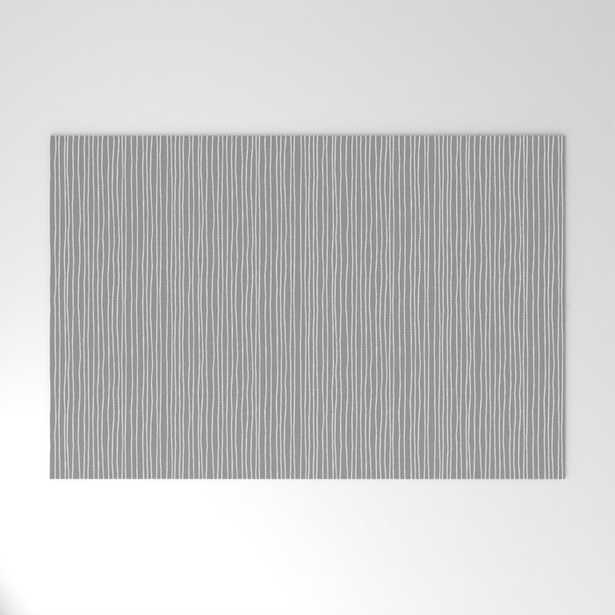 """Entry Rug - Platinum Lines Never Fail - Dark Gray Welcome Entry Door Mat - 30""""X20"""" - Society6"""