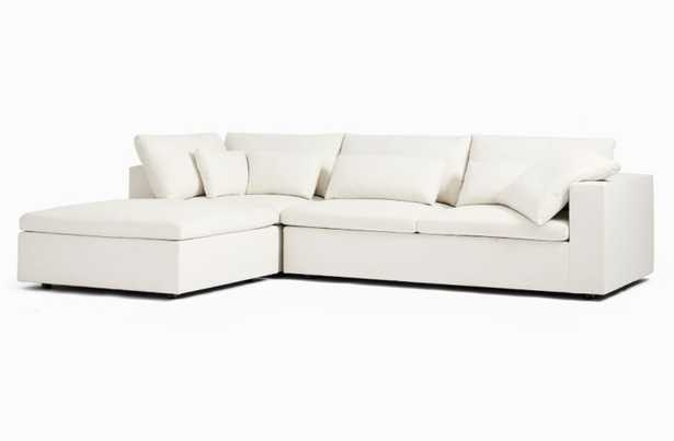 Harmony Modular 3-Piece Chaise Sectional - Right Arm Sofa, Corner, Ottoman - Alabaster, Eco Weave - West Elm