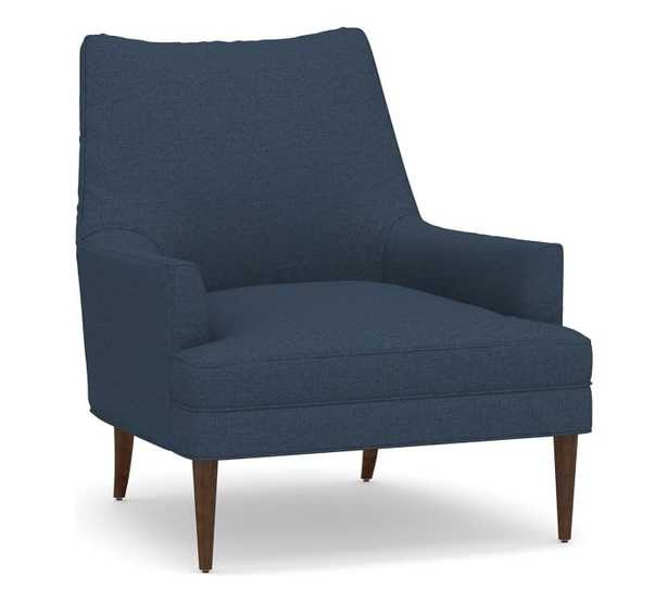 Reyes Upholstered Armchair, Polyester Wrapped Cushions, Brushed Crossweave Navy - Pottery Barn