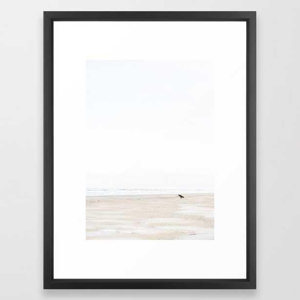 The lone surfer   fine art surf beach photography   Wanderlust at the ocean Framed Art Print - Society6