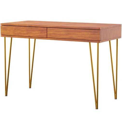 Mercury Row Feemster 2 Drawer Writing Desk in Natural/Brown - AllModern