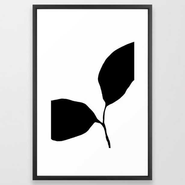 Seedling Leaning Left - Black and White Botanical Framed Art Print - Society6