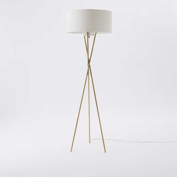Mid Century Tripod Floor Lamp, Antique Brass - West Elm