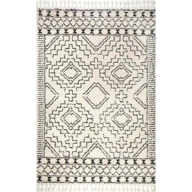 """Vasiliki Moroccan Tribal Tassel Off-White  7'10"""" ft. x 10 ft. Area Rug - Home Depot"""