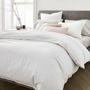 Organic Washed Cotton Duvet, King, Stone White - West Elm