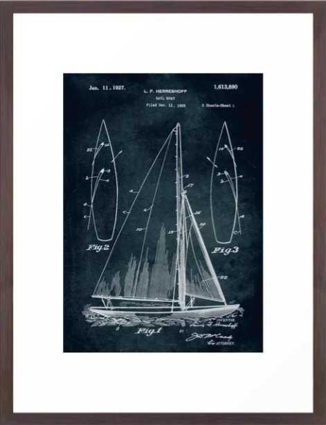 1925 Sail boat patent art Framed Art Print - Society6