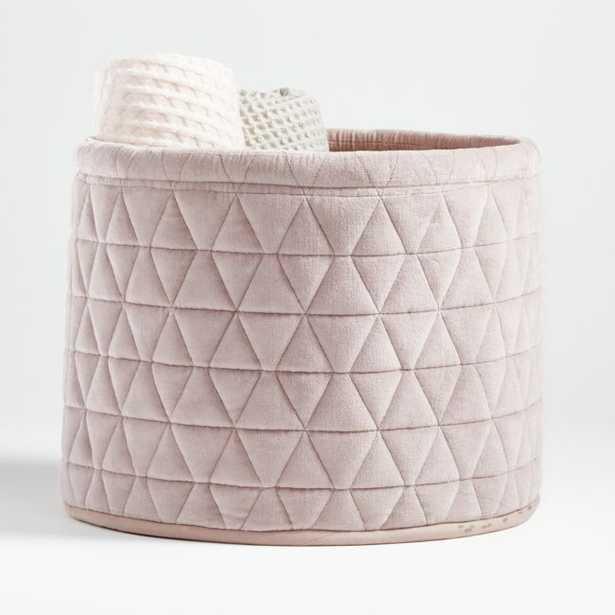 Mauve Velvet Storage Bin - Crate and Barrel
