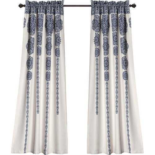 "Bremond Ikat Room Darkening Rod Pocket Curtain Panels- navy, 52"" W x 95"" L - Wayfair"