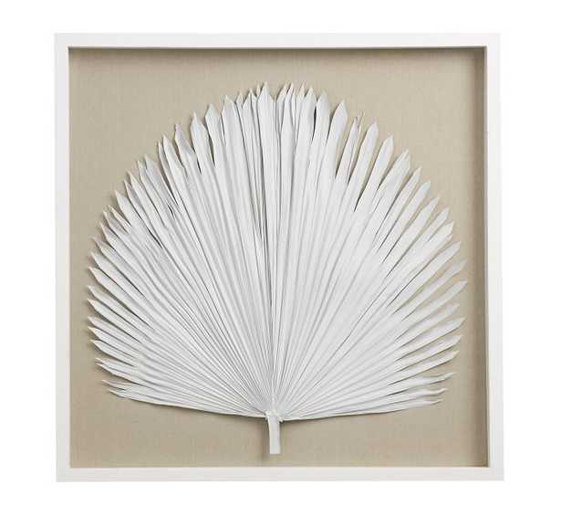 Palm Leaf Shadow Box Art, White, Large - Pottery Barn