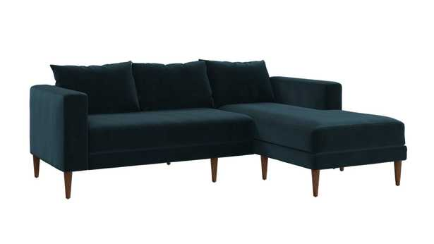 The Essential Sectional, Moss Recycled Velvet, Dark Brown Legs - Sabai Design