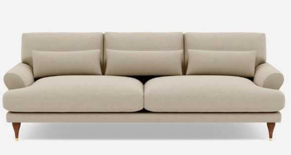 Maxwell Sofa with Beige Oatmeal Fabric and Oiled Walnut with Brass Cap legs - Interior Define
