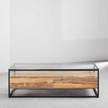 Box Frame Storage Coffee Table, Raw Mango, Large - West Elm