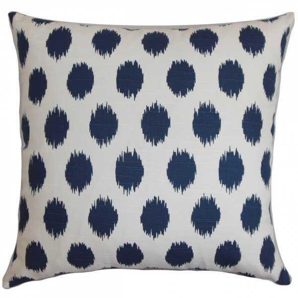 Juliaca Ikat Pillow Navy Blue 18x18 - Down Insert - Linen & Seam