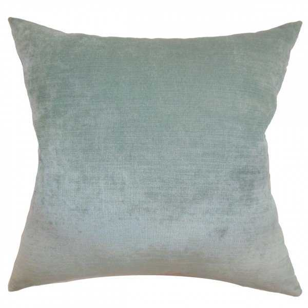 "Haye Solid Pillow Aqua - 22"" x 22"" - Polyester Insert - Linen & Seam"