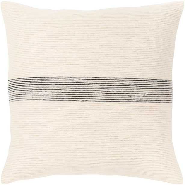 "Burton Pillow Cover, Ivory & Black, 18"" x 18"" - Cove Goods"