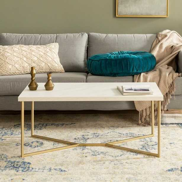Devito Coffee Table with Tray Top, White/Gold - Wayfair
