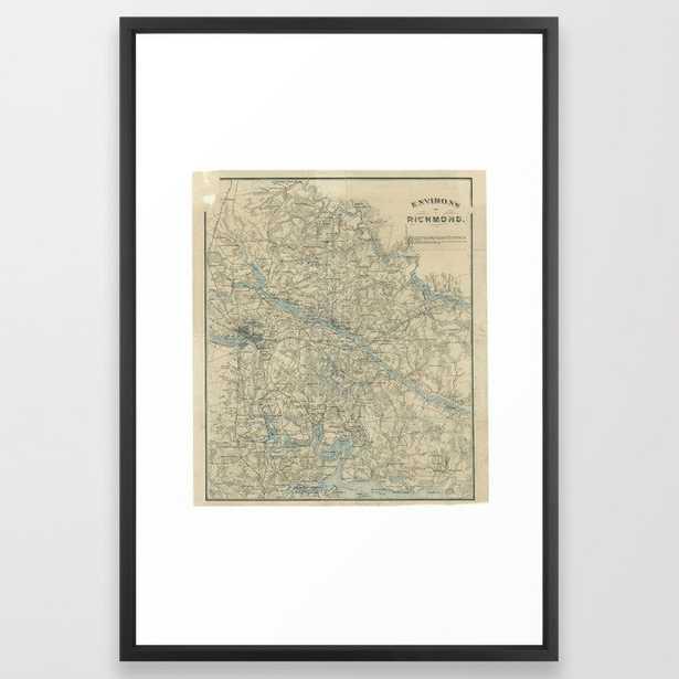 Vintage Map of The Richmond Virginia Area (1864) Framed Art Print - Society6