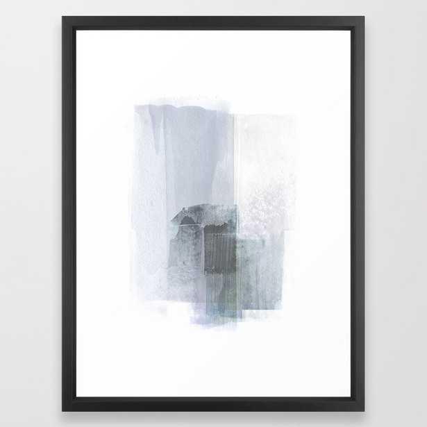 Blue Grey Minimalist Abstract Painting Framed Art Print - Society6