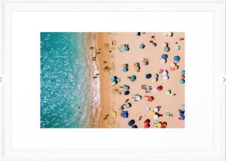 People On Algarve Beach In Portugal, Drone Photography, Aerial Photo, Ocean Wall Art Print Framed Art Print - Society6