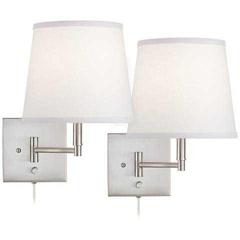 Lanett Brushed Nickel Plug-In Wall Lamp Set of 2 - Lamps Plus