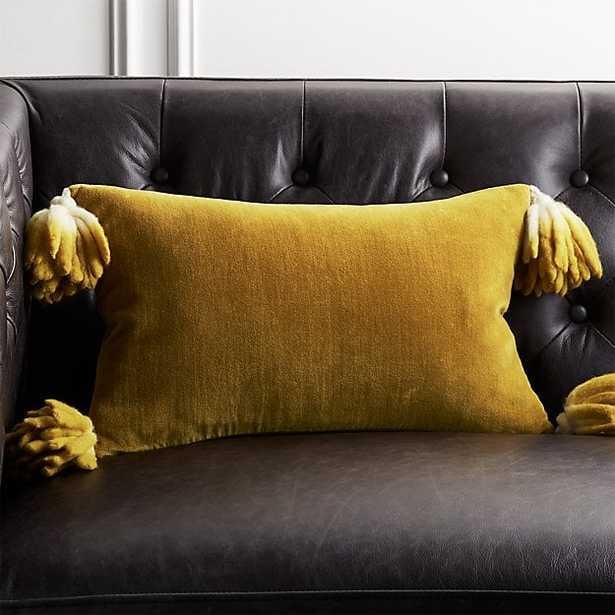 "18""x12"" Bia Tassel Mustard Velvet Pillow with Feather-Down Insert - CB2"