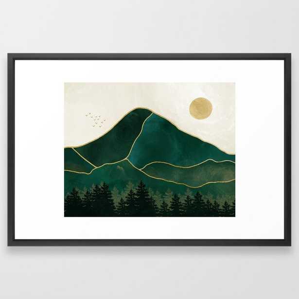 Mount Hood // Emerald Abstract Dream Oregon Green Gold Yellow Mountain Forest Wilderness Landscape Framed Art Print - 26x38, frame vector black - Society6