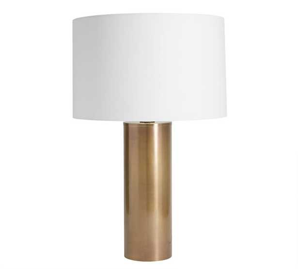 Stella Table Lamp, Large Antique Brass Base with Large Straight Sided Gallery Shade, White - Pottery Barn