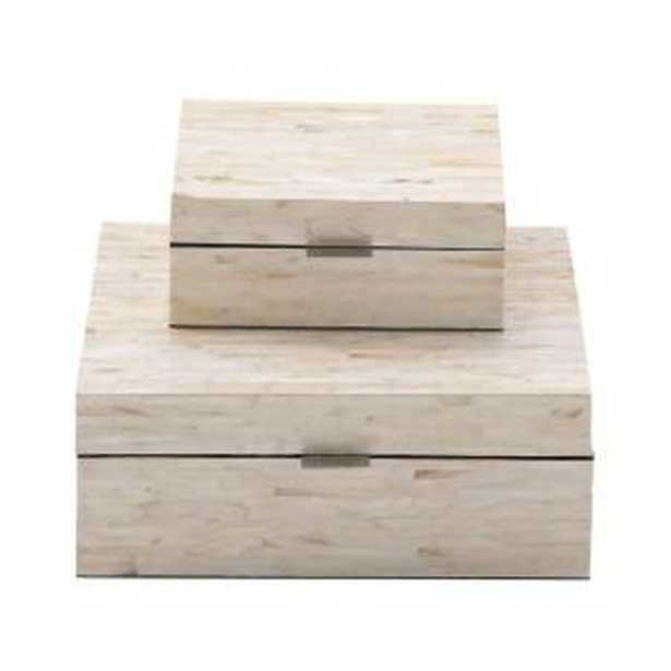 Multiple Decorative Boxes with Off-White and Tan Rectangular Mother of Pearl Tile Inlay (Set of 2) - Home Depot
