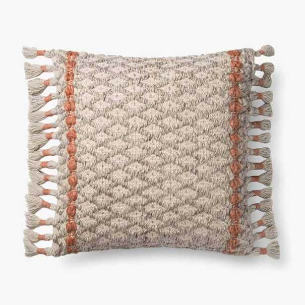 """ED Ellen DeGeneres Crafted by Loloi PILLOWS P4107 GREY / RUST 22"""" x 22"""" Cover w/Poly - Loma Threads"""