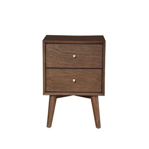 Parocela 2 Drawer Nightstand, Walnut - Wayfair