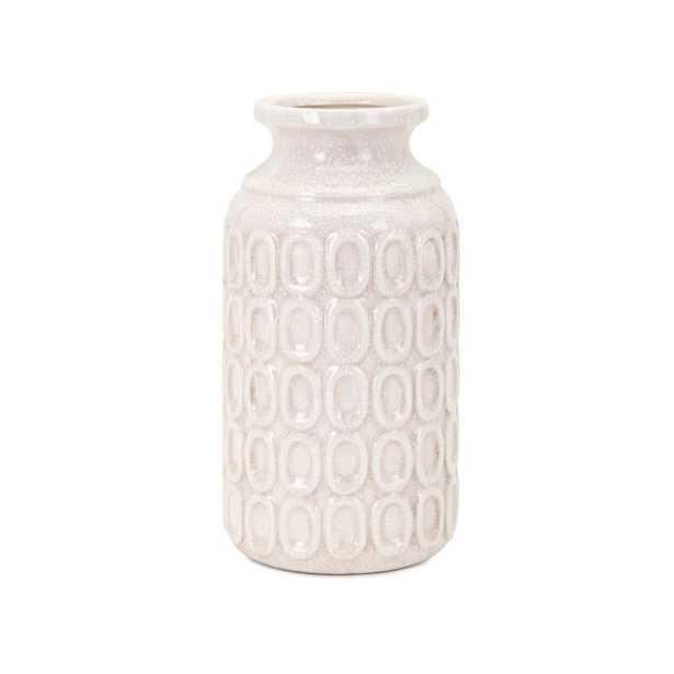 Eleanor White Ceramic Decorative Vase. 11H - Home Depot