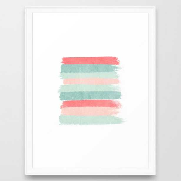 Stripes painted coral minimal mint teal bright southern charleston decor colors Framed Art Print - Society6