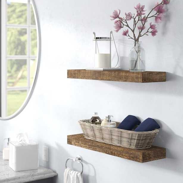 Evonne 2 Piece Wall Shelf Set - Dark Walnut - Wayfair