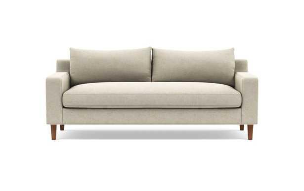 Sloane Two Seat Sofa - Flax Performance Crosshatch, Walnut Legs, 1 bench cushion - Interior Define
