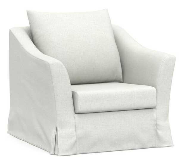 SoMa Brady Slope Arm Slipcovered Armchair, Polyester Wrapped Cushions, Basketweave Slub Ivory - Pottery Barn