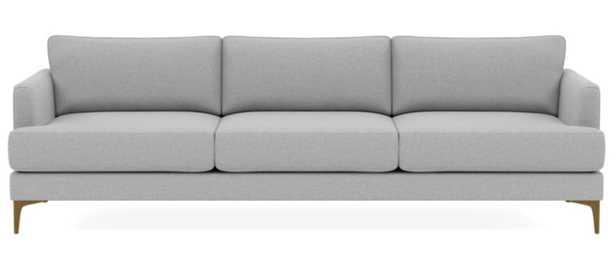 "Winsow Sofa; Ecru; Brass Plated Sloan L Leg; 112"", Standard Depth; Down Alternative Cushions - Interior Define"