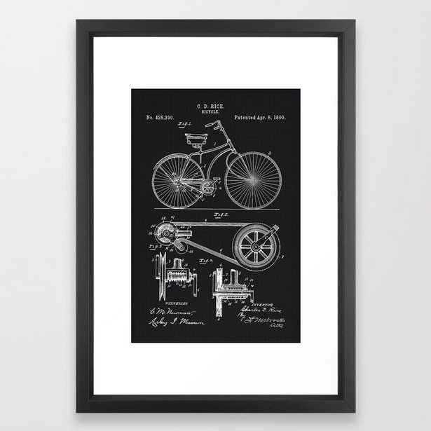 Vintage Bicycle patent illustration 1890 Framed Art Print - Society6