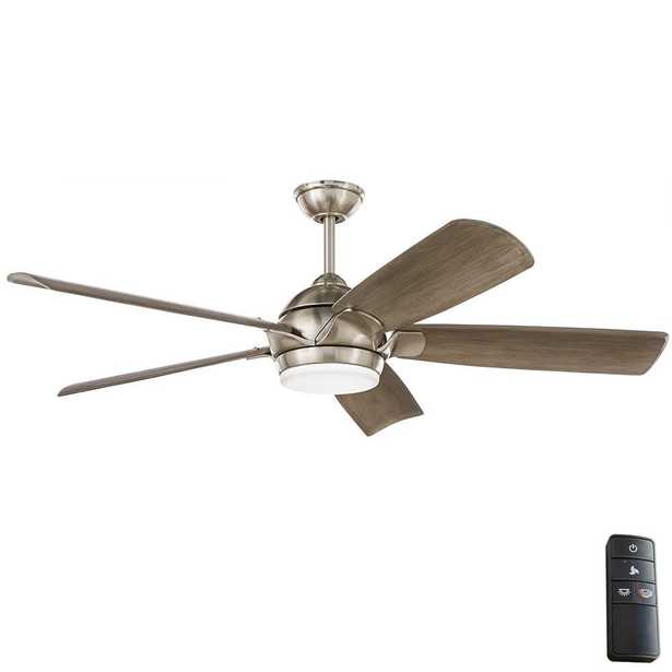Camrose 60 in. Integrated LED Brushed Nickel Ceiling Fan with Light Kit and Remote with White Color Changing Technology - Home Depot