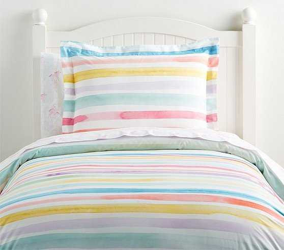 Organic Kayla Rainbow Stripe Duvet Cover, Full/Queen - Pottery Barn Kids