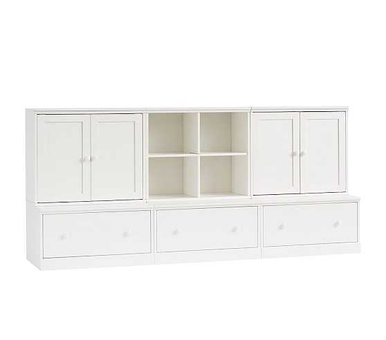 Cameron 1 Cubby, 2 Cabinets, & 3 Drawer Bases, Simply White, UPS - Pottery Barn Kids