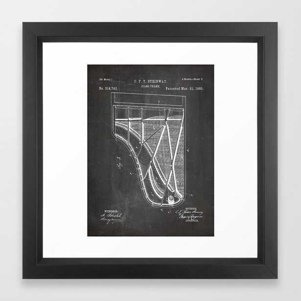 Steinway Piano Patent - Piano Player Art - Black Chalkboard Framed Art Print - Society6