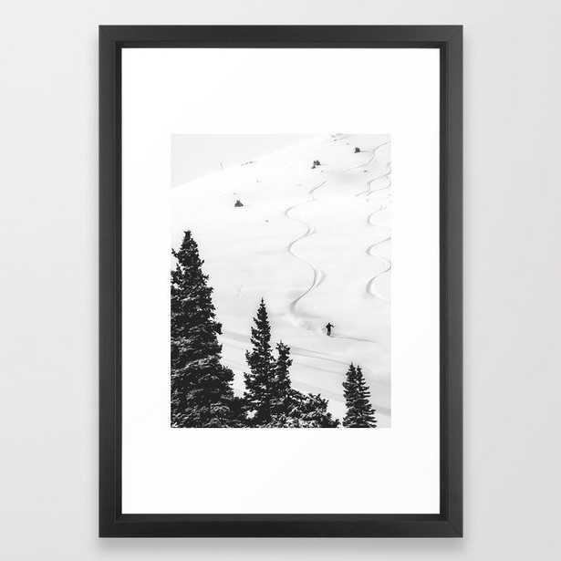 Backcountry Skier // Fresh Powder Snow Mountain Ski Landscape Black and White Photography Vibes Framed Art Print - Society6