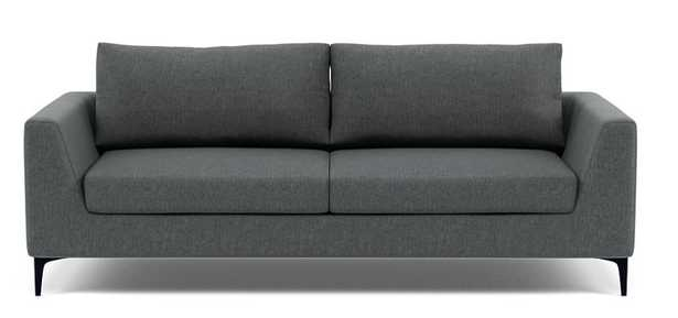 ASHER 2-Seat Fabric Sofa-Painted Black Tapered Round Wood - Interior Define