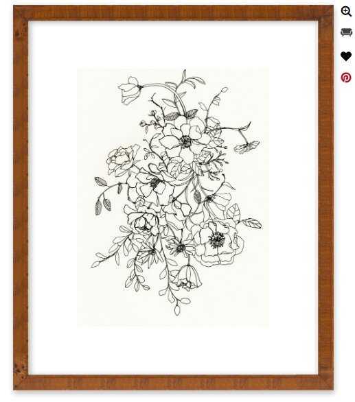 """Ink Floral II 16""""x20"""" Ornate - Brown Wood, frame - Artfully Walls"""