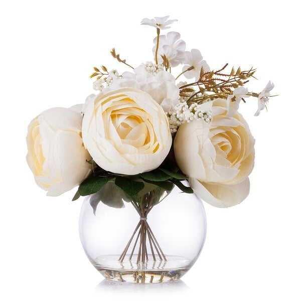 Beige Silk Peony And Hydrangea Flower Arrangement In Clear Glass Vase With Faux Water - Wayfair
