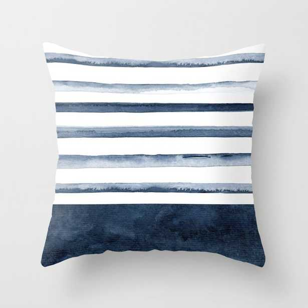 Watercolor Stripes Pattern Throw Pillow 16 x 16 Indoor - Society6