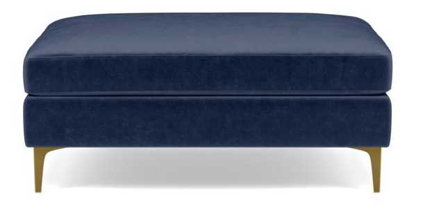 Sloan Ottoman with Blue Bergen Blue Fabric and Brass Plated legs - Interior Define